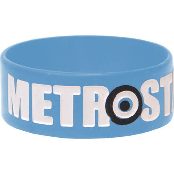 Metro Station Men's Logo Rubber Bracelet Blue