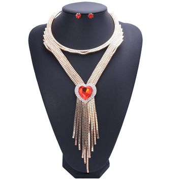Gold Color Austrian Crystal Jewelry Sets Tassel Heart Necklaces&Pendants Bijoux Chunky Necklace Earrings Set For Women Bijoux