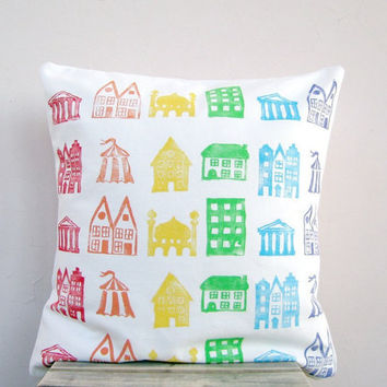 Childrens decor throw pillow rainbow houses print on by EarthLab