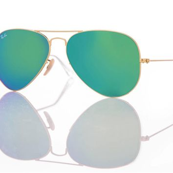 New Authentic Ray-Ban Sunglasses RB 3025 Aviator 112/19 Gold/Green Mirror 58mm