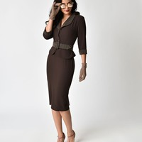 Miss Candy Floss 1940s Style Agent Carter Inspired Brown Gunni Dora Suit Dress