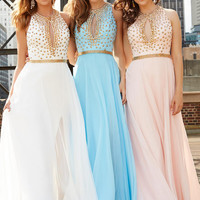 Gold Studded Madison James Prom Dress 15-154