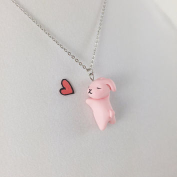 Rabbit Necklace // Polymer Clay Charm Necklace // Kawaii Pink Bunny Necklace // Easter Gift