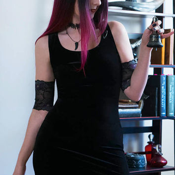 Gothic Velvet Bodycon Dress / Velvet Little Black Dress / Nu goth LBD/ Coatlicue Velvet Mini Dress