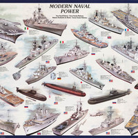 Modern Navy Ships and Submarines Poster 27x39