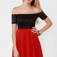Flare for the Chromatic Red and Black Lace Dress