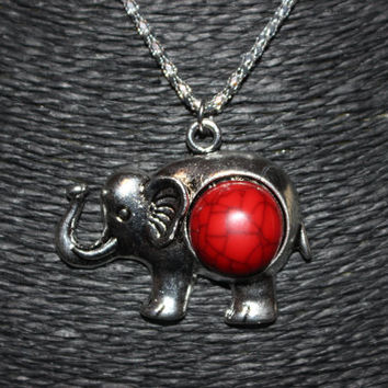 Silver Elephant with Red Stone Pendant Necklace
