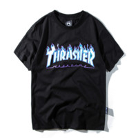 Thrasher Summer New Fashion Bust Flame Letter Print Women Men Top T-Shirt Black