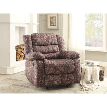 Homelegance Berger Glider Reclining Chair In Camouflage Polyester