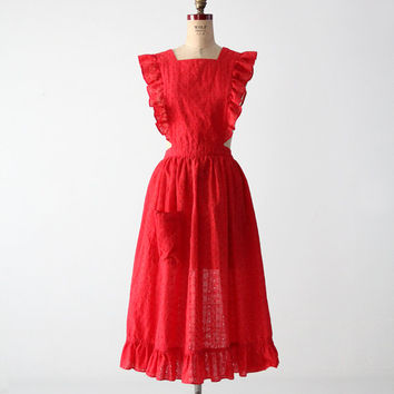 SALE vintage 60s eyelet apron dress