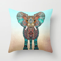BOHO SUMMER ELEPHANT Throw Pillow by Monika Strigel | Society6