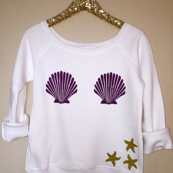 Mermaid - Off the Shoulder Sweatshirt  - Ruffles with Love -  Womens Clothing - RWL