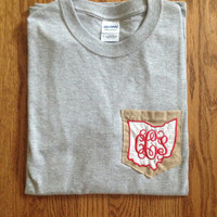 Red, White, & Burlap Ohio Pocket T-Shirt - Women's and Men's!