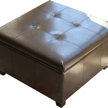 Storage Coffee Ottoman Dark Brown Espresso & Black - Lift Top Bench