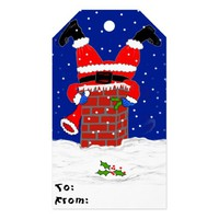 Santa in the Chimney on Gift Tags