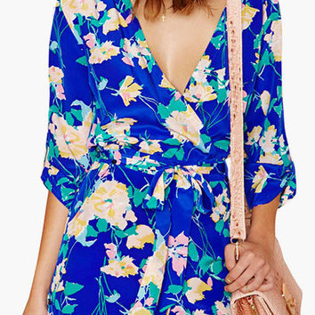 Royal Blue Floral Print Asymmetrical Wrap Romper