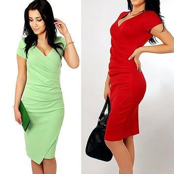 Women Fashion Short Sleeve Deep V-neck Draped Design Dress Slim Pencil Dress