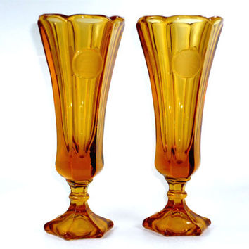 "Pair of Fostoria Coin 1372 Vases in Amber Glass 8"" Footed Vintage Retro"