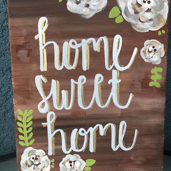 Home Sweet Home Floral Canvas // Home decor // Housewarming // Wood // Wall Art // Peonies