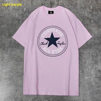Converse New fashion letter star print couple top t-shirt Light Purple