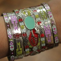 Gypsy Soule Antique Silver Aztec Bangle Set
