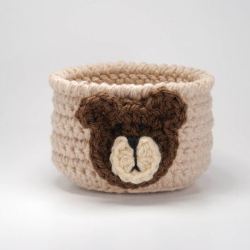 Baby boy nursery decor, teddy bear shower theme, nursery storage ideas, crocheted bowl, beige basket, teddy bear party, pacifier holder
