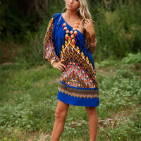 Royal Blue One Shoulder Pocahontas Dress
