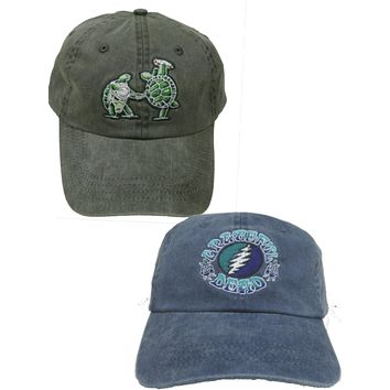 Grateful Dead Terrapin and Bolt Embroidered Baseball Hat 2 Pack
