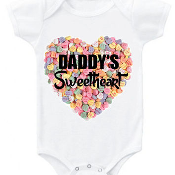 "Valentine's ""Daddy's Sweetheart"" candy background heart graphic baby bodysuit or organic cotton toddler t shirt"