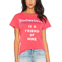 Junk Food Budweiser Is A Friend Of Mine Tee in Licorice | REVOLVE