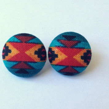 Small Teal Yellow and Red South Western Aztech Tribal Fabric Print Button earrings