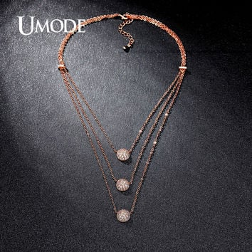 UMODE Unique Design 3 Layers Clear Micro CZ Paved Rose Gold Color Choker Statement Necklaces Jewelry for Women Collares UN0230C
