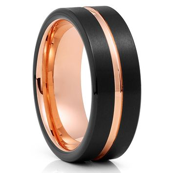Black Tungsten Ring - Rose Gold Tungsten - 8mm Tungsten Band - Brush