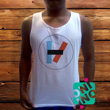 Twenty One Pilots Logo Men's White Cotton Solid Tank Top