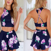 Floral Navy Print Halter Neck Cross Backless Strap Cropped Top and Skater Mini Shorts