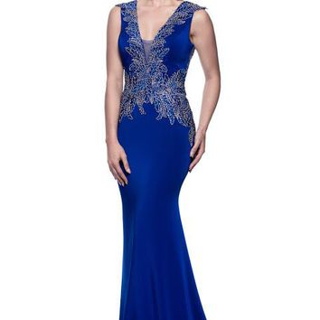 Cap Sleeve V-Neck Trumpet Formal Dress