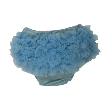Chiffon Ruffle Diaper Cover - Light Blue