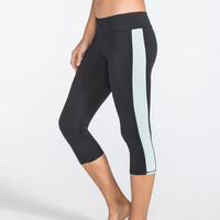 Full Tilt Sport Inset Stripe Womens Capri Leggings Black/Mint  In Sizes