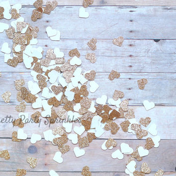 Rose Gold Heart Confetti Wedding Confetti, Bachelorette Party, Bridal Shower, Birthday Decor, Girl Baby Shower, Gold Wedding Heart Confetti