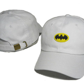 White Batman Embroidered Baseball Cap Hat