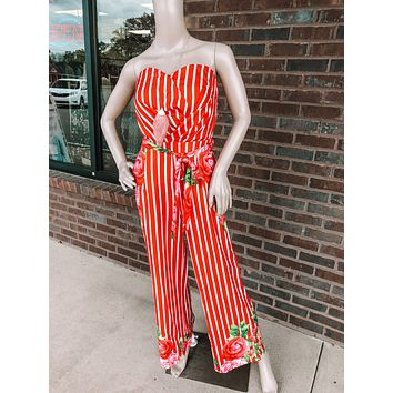 Red Floral Striped Jumpsuit