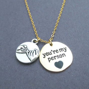 Two Tone, Pinky, Promise, You're my person, Grey's Anatomy, You are my person, Necklace, Greys Anatomy, Promis, Friendship, Gift, Accessory