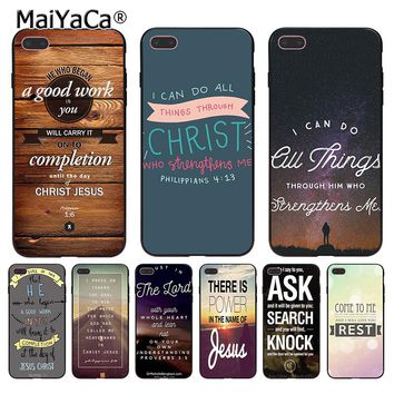 MaiYaCa Bible verse Philippians Jesus Christ Christian Coque Shell Phone Case  for Apple iPhone 8 7 6 6S Plus X 5 5S SE 5C Cover