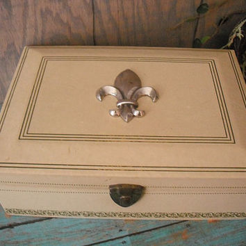 vintage French Fleur De Lis Cream and French Blue Gray JEWELRY Box