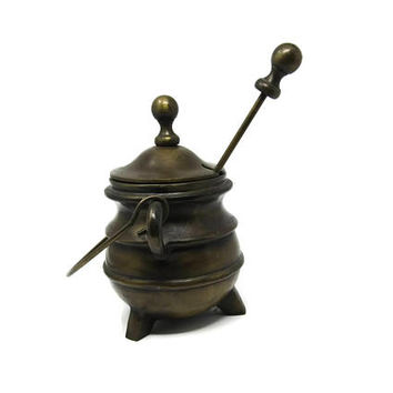Vintage Cast Iron Fire Starter Smudge Pot with Cover Lid and Handle - Footed Cauldron with Pumice Stone Wand -  Retro Steampunk Goth