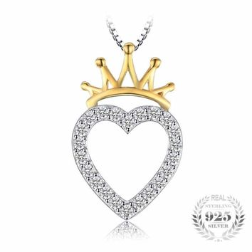 Heart Shaped Cubic Zirconia with Crown Gold Plated Pendant 925 Sterling Silver