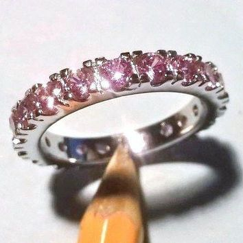 Size 8 Pink Sapphire White Gold Filled Wedding