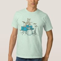 Cat Playing Drums, Blue - Drummer T-shirt