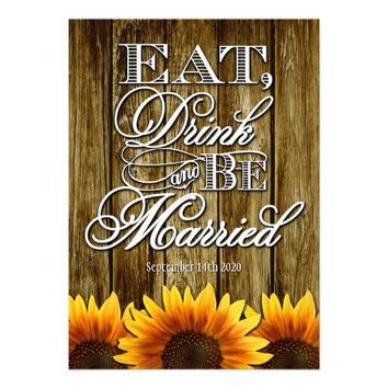 Country Western Wood Sunflower Wedding Invitations from Zazzle.com