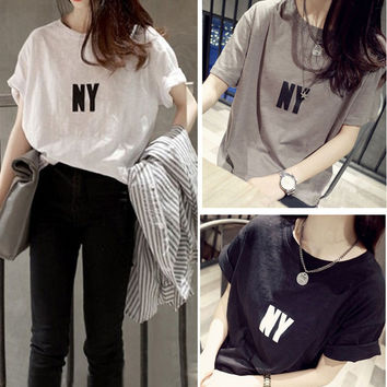 NY Print Short Sleeves Loose T-Shirt